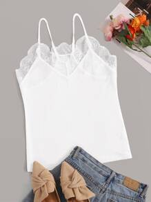 Contrast Lace Solid Cami Top