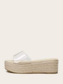 Clear Open Toe Espadrille Wedges