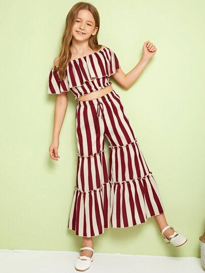 26b1399da689 Girls Ruffle Foldover Striped Top & Layered Trousers Set