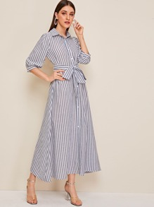 Lantern Sleeve Striped Belted Shirt Dress