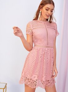 Zip Back Guipure Lace Overlay Dress