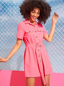 Button Fly Self Belted Shirt Dress