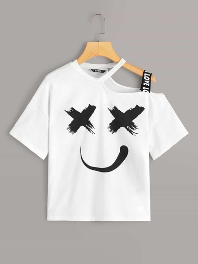 Cutout Detail Cartoon Graphic Top With Strap