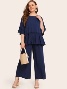 Plus Solid Peplum Top & Wide Leg Pants Set