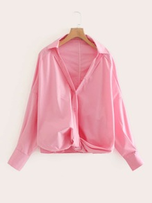 Solid Twist Hem Blouse