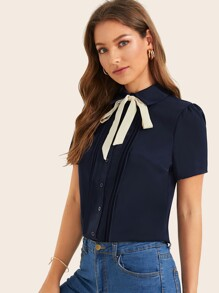 Tie Neck Button Front Blouse