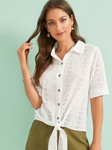 Eyelet Embroidery Button Front Knot Hem Blouse
