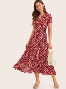 Ditsy Floral Ruffle Hem Wrap Dress