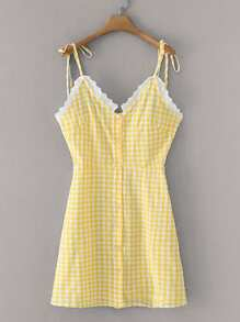 Contrast Lace Gingham Button Front Cami Dress