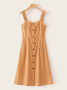 Polka Dot Button Front Cami Dress