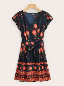 Tribal Ditsy Floral Ruffle Sleeve Belted Dress