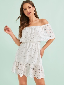 Eyelet Embroidered Scallop Hem Bardot Dress