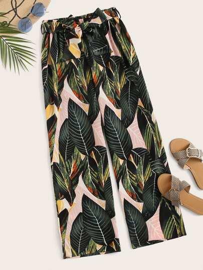 a06634b99f Tropical Print Self Tie Elastic Waist Pants