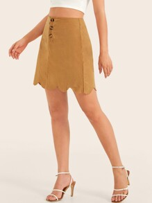 Button Fly Scallop Trim Skirt