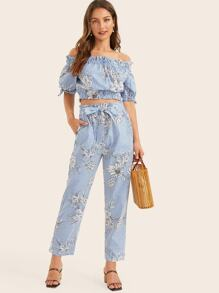 Striped Floral Print Frill Trim Bardot Top & Belted Pants