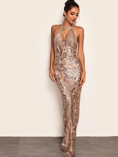 8bbd263c9f7 Joyfunear Split Hem Backless Halter Sequin Maxi Dress