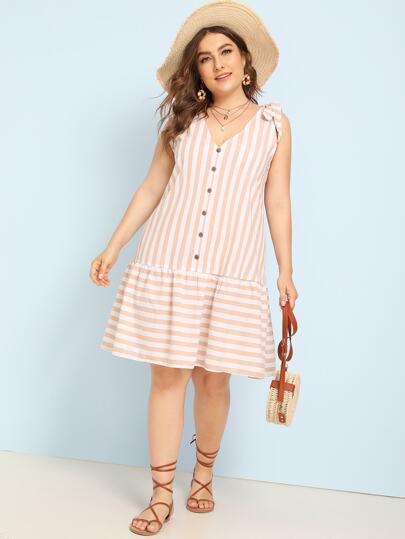 Plus Two Tone Knot Shoulder Button Ruffle Hem Dress