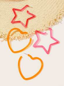 Heart & Star Detail Earrings Set 2pairs