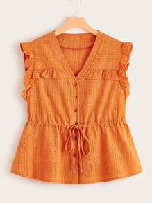 Plus Frill Trim Knot Front Schiffy Peplum Top