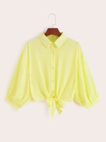 Solid Button Front Knot Front Shirt