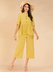 Button Front Smock Peplum Top & Wide Leg Pants Set