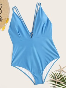 Plus Lace Up V Neck One Piece Swimwear