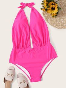 Plus Neon Pink Cut Out Halter One Piece Swimwear