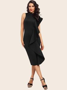 Adyce Mock-neck Ruffle Trim Pencil Dress