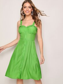 Frill Trim Button Fly Dress