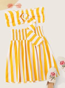 O-ring Front Top and Shirred Waist Striped Skirt Set
