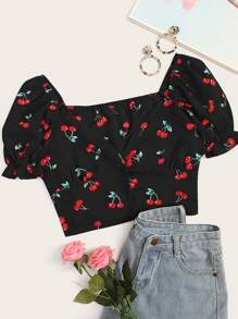 Cherry Print Puff Sleeve Crop Top