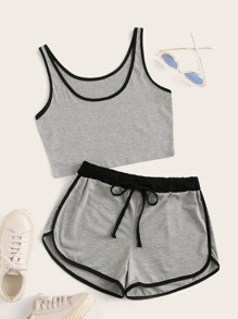 Contrast Binding Crop Tank Top With Drawstring Shorts