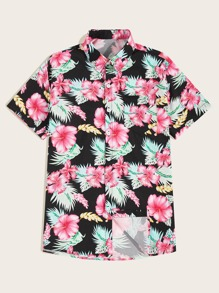 Men Allover Floral Print Hawaiian Shirt