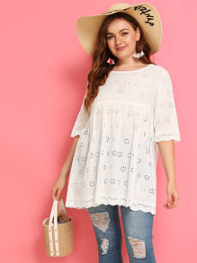 Plus Eyelet Embroidery Smock Blouse