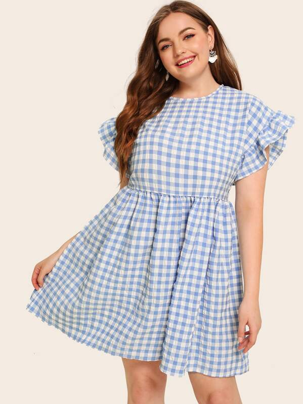 Plus Gingham Flounce Sleeve Smock Dress   SHEIN