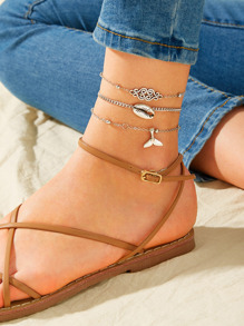 Shell & Fishtail Charm Chain Anklet 3pcs