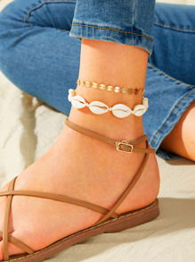 Shell & Disc Decor Chain Anklet 1pc