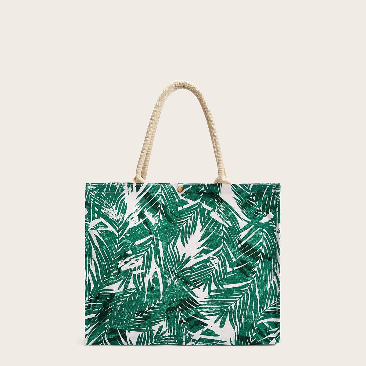 Большая сумка с принтом из листьев