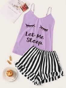 Eyelash & Letter Print Striped Cami PJ Set