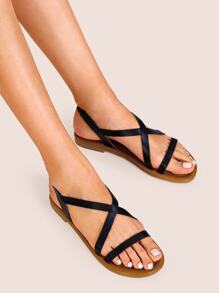 Cross Strap Slingback Flat Sandals