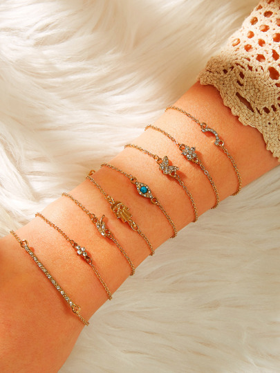 Rhinestone Engraved Floral & Bar Chain Bracelet 8pcs
