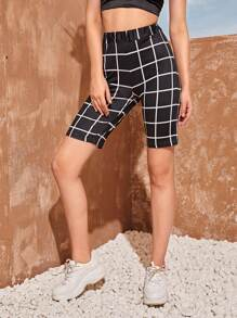 Elastic Waist Plaid Cycling Shorts