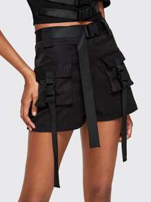 Tape Push Buckle Dual Pocket Belted Utility Shorts