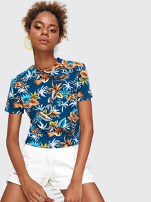 Tropical Print Hawaiian Tee