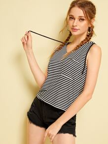 Striped Hooded Sleeveless Tee