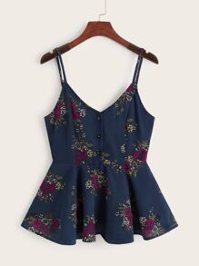 Floral Print Cut Out Back Peplum Cami Top