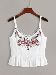 Floral Embroidered Zip Back Ruffle Hem Cami Top