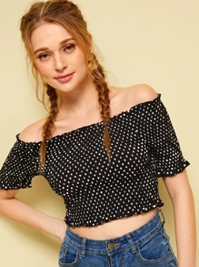 Confetti Polka Dot Print Off Shoulder Top
