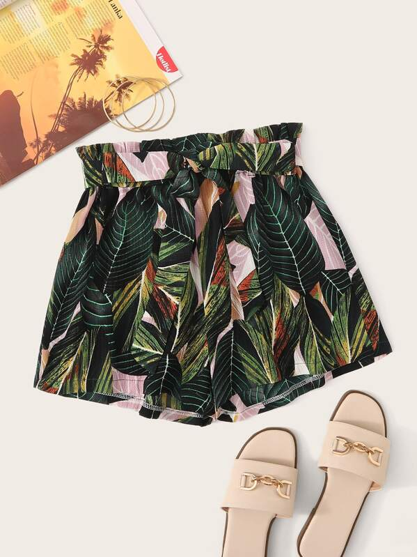 c01922434dd3 Tropical Print Paper Bag Belted Shorts | SHEIN UK