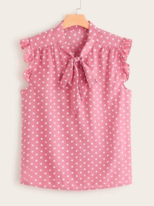 Plus Polka Dot Tie Neck Frill Cuff Blouse